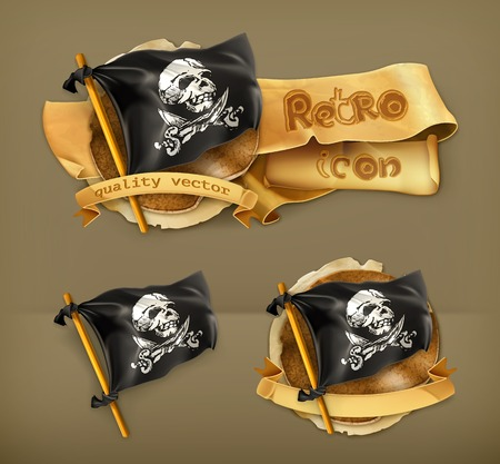 jolly roger pirate flag: Jolly Roger retro icon Illustration
