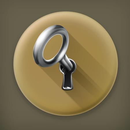 Key in keyhole long shadow icon Vector