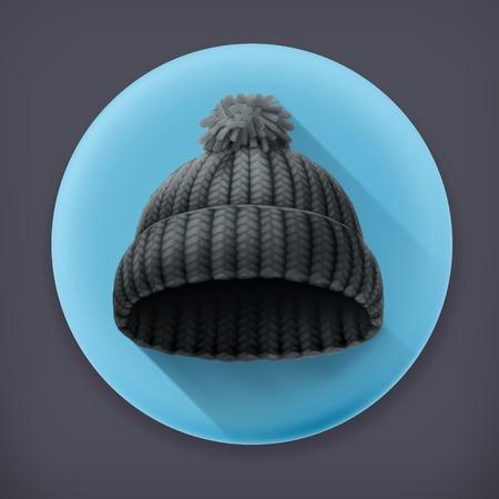 woollen: Beanie black cap long shadow icon Illustration