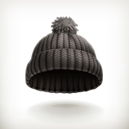 knitten: Knitted black cap illustration