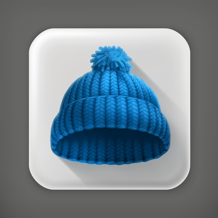 knitten: Knitted blue cap long shadow icon Illustration