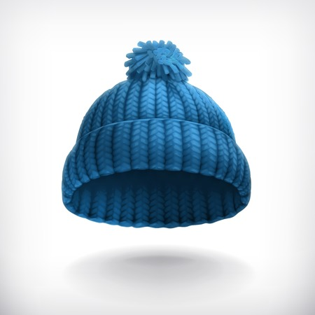 Knitted blue cap illustration Vectores