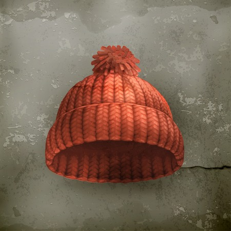 knitten: Knitted red cap old style  Illustration