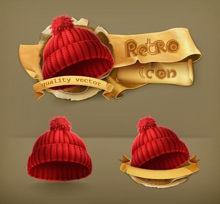knitten: Knitted red cap retro icon