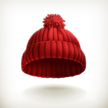 kapelusze: Ilustracja czerwona czapka z dzianiny