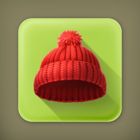 knitten: Knitted red cap, long shadow icon Illustration