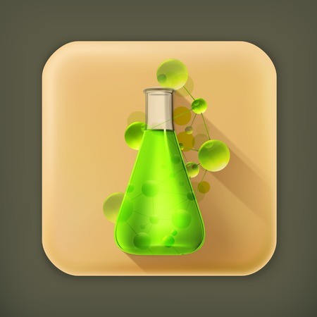 clinical research: Laboratory flask long shadow icon Illustration