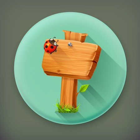 Ladybug on wooden sign long shadow icon Vector