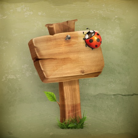 wooden signboard: Ladybug on wooden sign old style