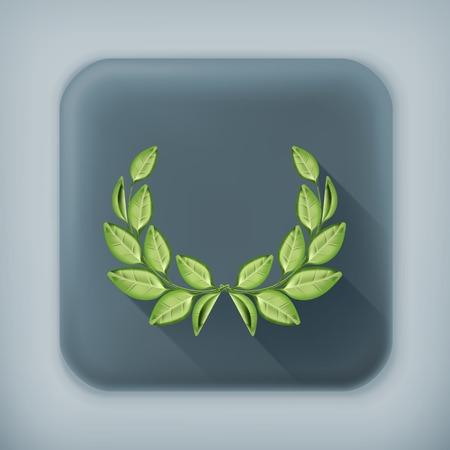 victory symbol: Laurel wreath long shadow icon