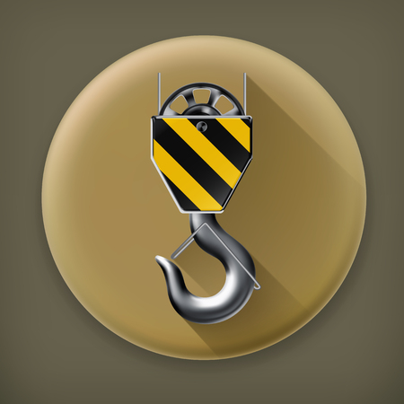 lading: Lifting hook long shadow icon