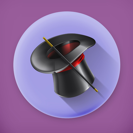 Magic cylinder hat, long shadow icon Vector