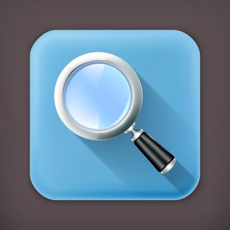 Magnifying lens, long shadow icon Vector