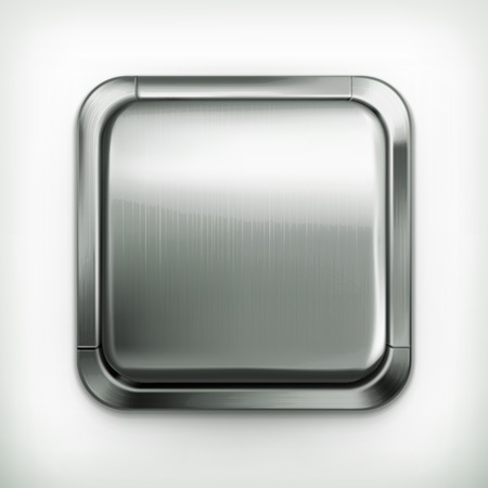 shiny metal background: Metal button, detailed icon