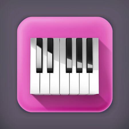octave: Octave piano keys, long shadow icon Illustration