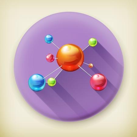 molecule, long shadow icon Vector