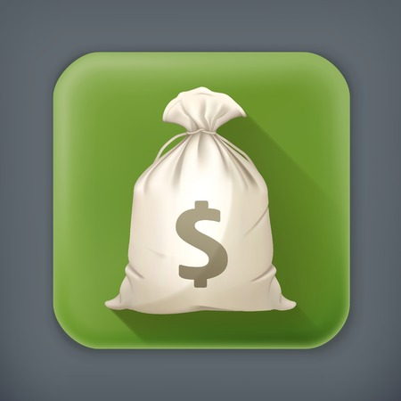 money bag: Money Bag, long shadow icon Illustration