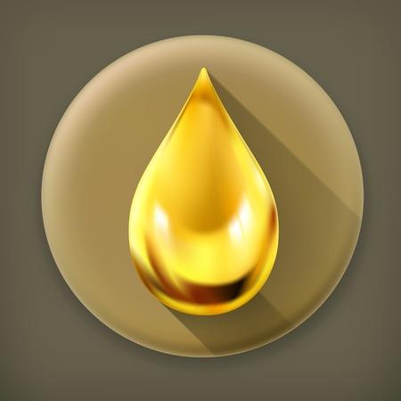 Oil drop, long shadow icon