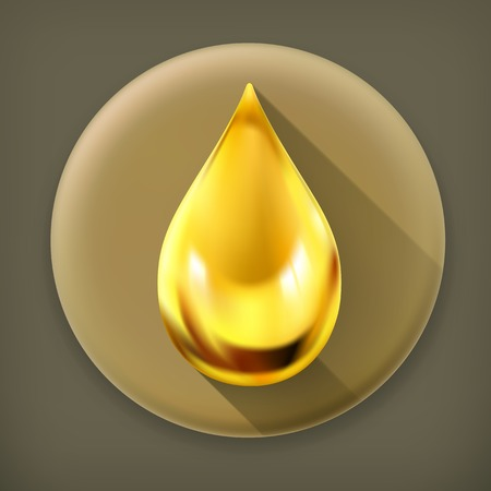 Oil drop, long shadow icon