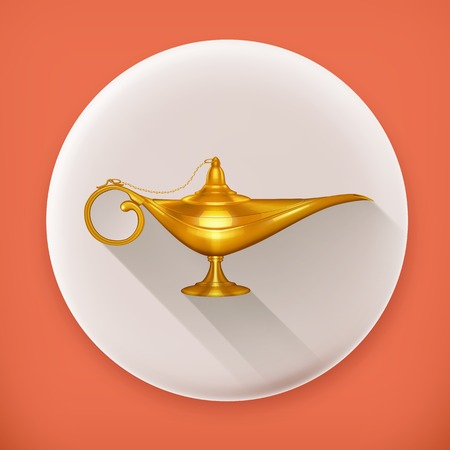 aladdin: Oil lamp, long shadow icon