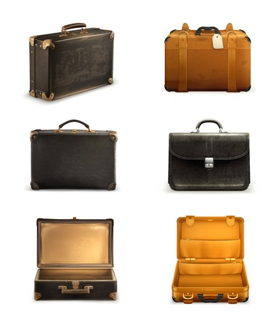 Old suitcase set Vector