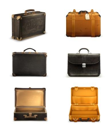 Old suitcase set 矢量图像
