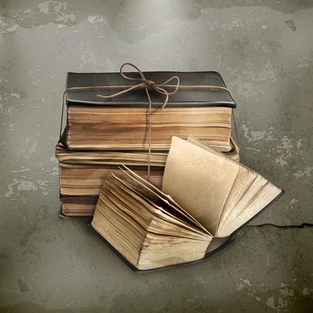 libros viejos: Pila de libros antiguos, vector de estilo antiguo