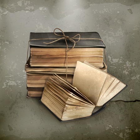ancient books: Stack of old books, old style vector Illustration