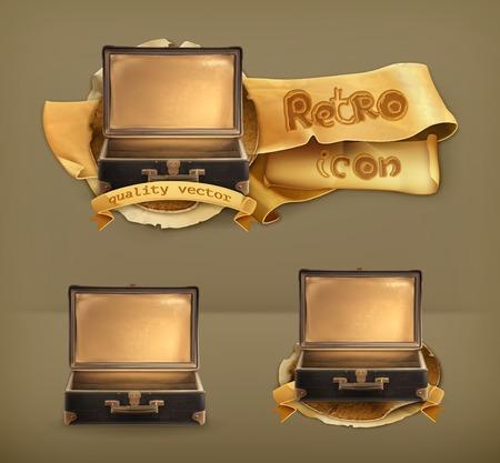Old suitcase, vector icon Vector