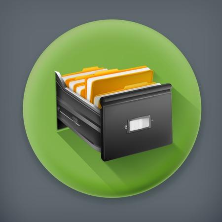 Open card catalog, long shadow vector icon Vector