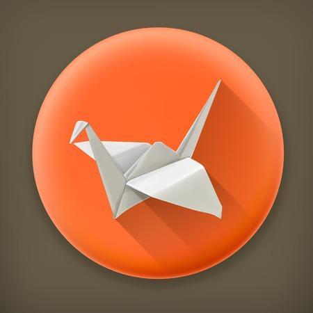 3d dove: Origami crane long shadow vector icon