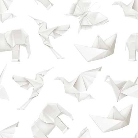 3d dove: Origami, vector seamless pattern
