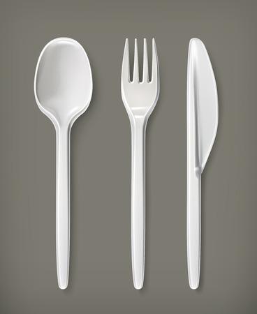 Plastic cutlery, vector