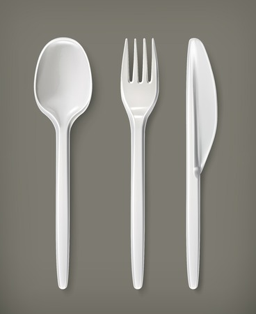 disposable: Plastic cutlery, vector