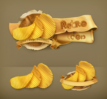 potato chip: Potato chips, retro vector icon