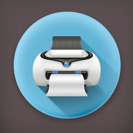 laser printer: Printer, long shadow vector icon
