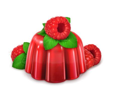 GELATIN: Raspberries and mint jelly, vector