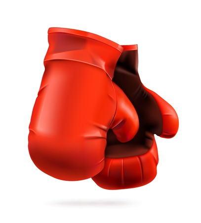 leather gloves: Red boxing gloves, detailed vector illustration