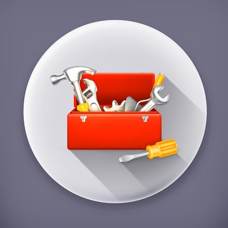 long recovery: Red toolbox, long shadow vector icon