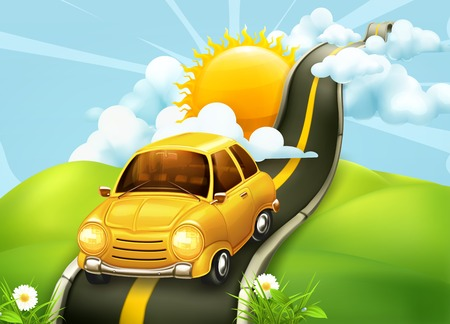 carro caricatura: Camino a las nubes, ilustración vectorial