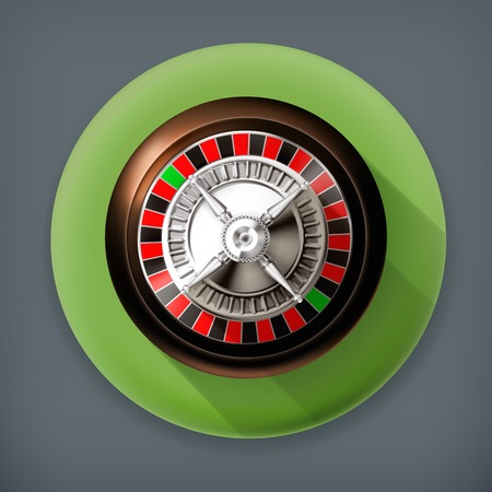 luck wheel: Roulette, long shadow vector icon