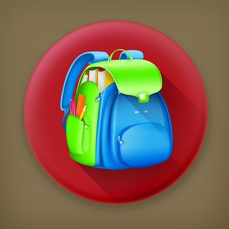 back round: School bag long shadow vector icon Illustration