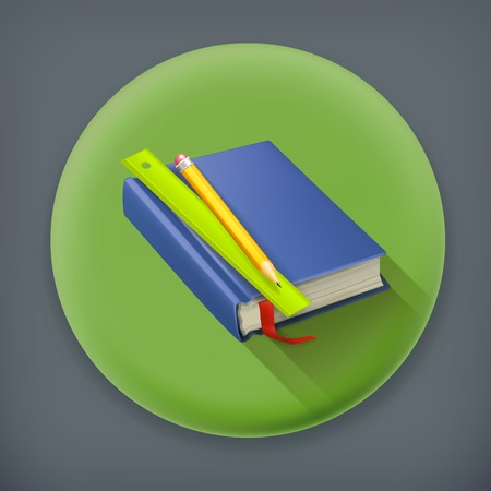 schoolbook: Schoolbook long shadow, vector icon Illustration