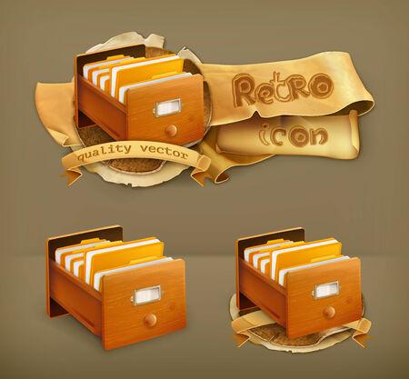 catalog: Open kaartenbak houten, vector icon