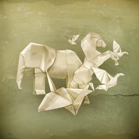 fondo de circo: Animales de Origami, vector de estilo antiguo