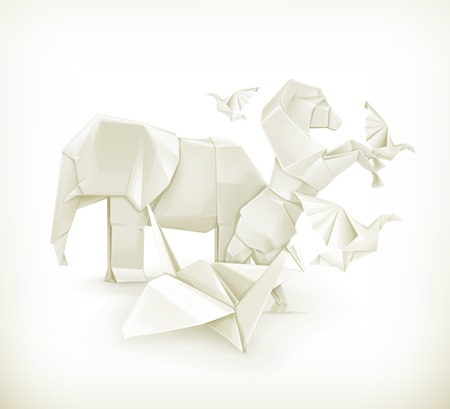 Origami animals, vector illustration Vector