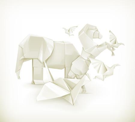 3d dove: Origami animals, vector illustration