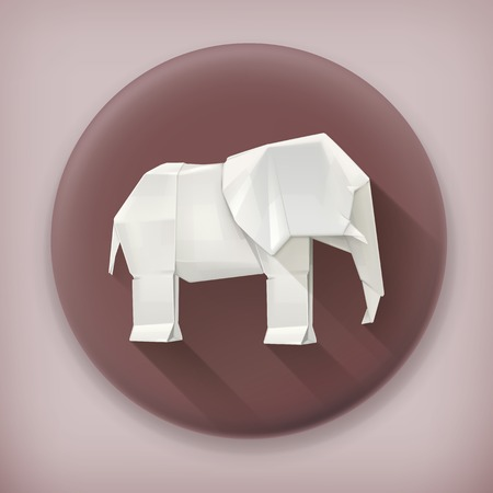 elephant icon: Origami elephant long shadow vector icon