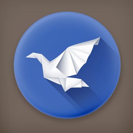 3d dove: Paper Dove, long shadow vector icon