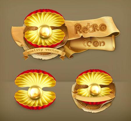 nacre: Pearl gold, retro vector icon